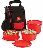 Cello Max Fresh Super Polypropylene Lunch Box Set, 225ml, 3-Pieces, Red