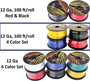 Wire gauge 400 amps car stereo data wiring 12 gauge primary wire assortment choice of 2 4 or 6 rolls pack rh amazon com auto speaker wire ampacity chart keyboard keysfo Gallery
