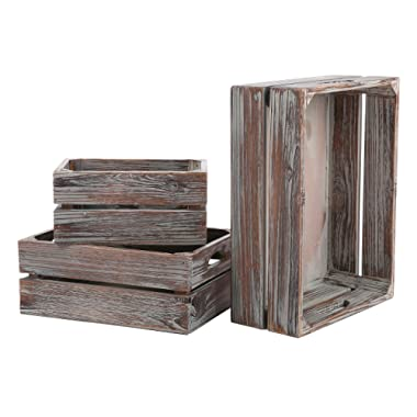 MyGift Set of 3 Country Rustic Finish Brown Wood Nesting Boxes/Tabletop Jewelry Storage Containers