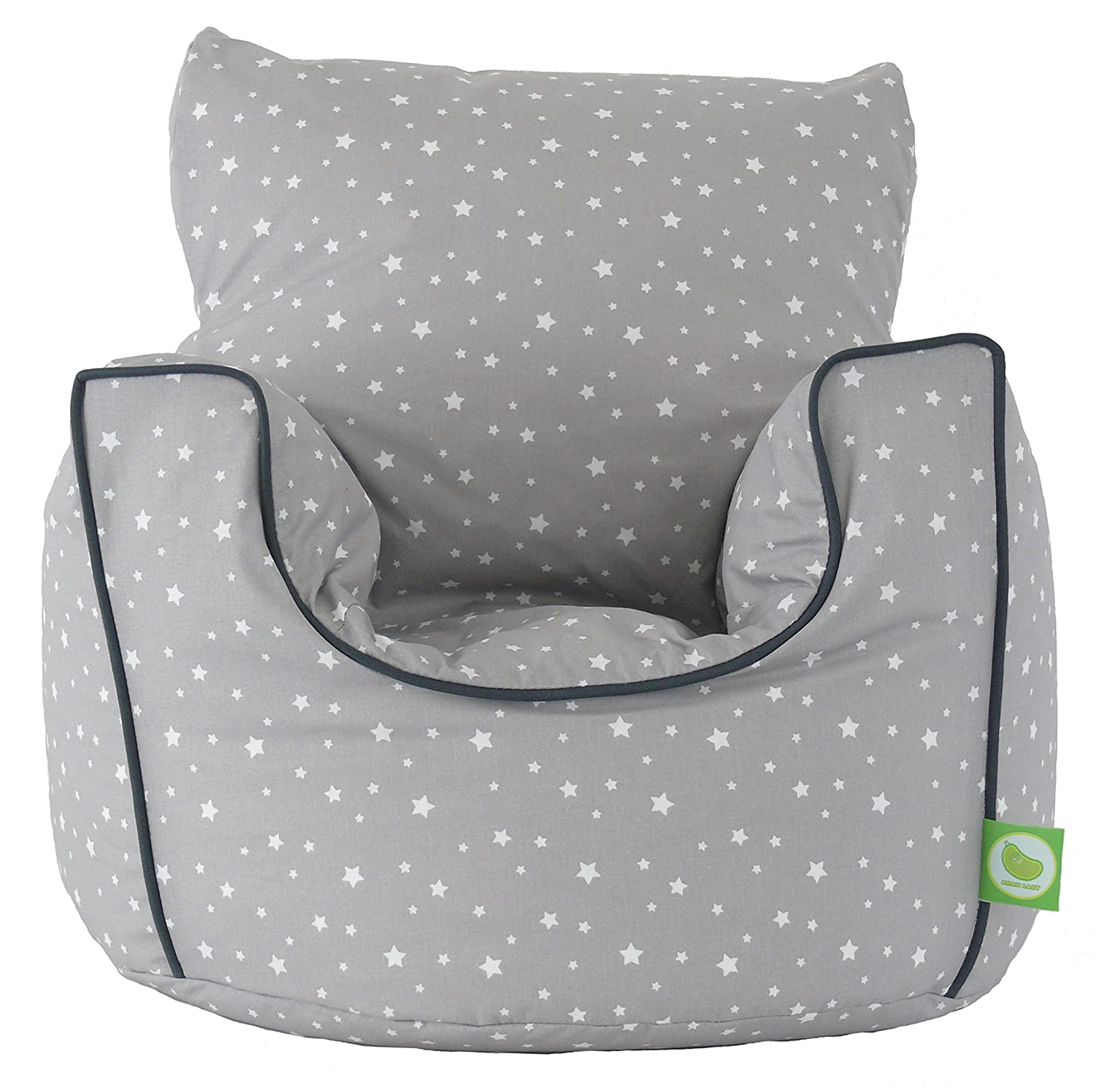 Cotton Grey Stars Bean Bag Arm Chair With Beans Toddler Size From Lazy Amazoncouk Kitchen Home