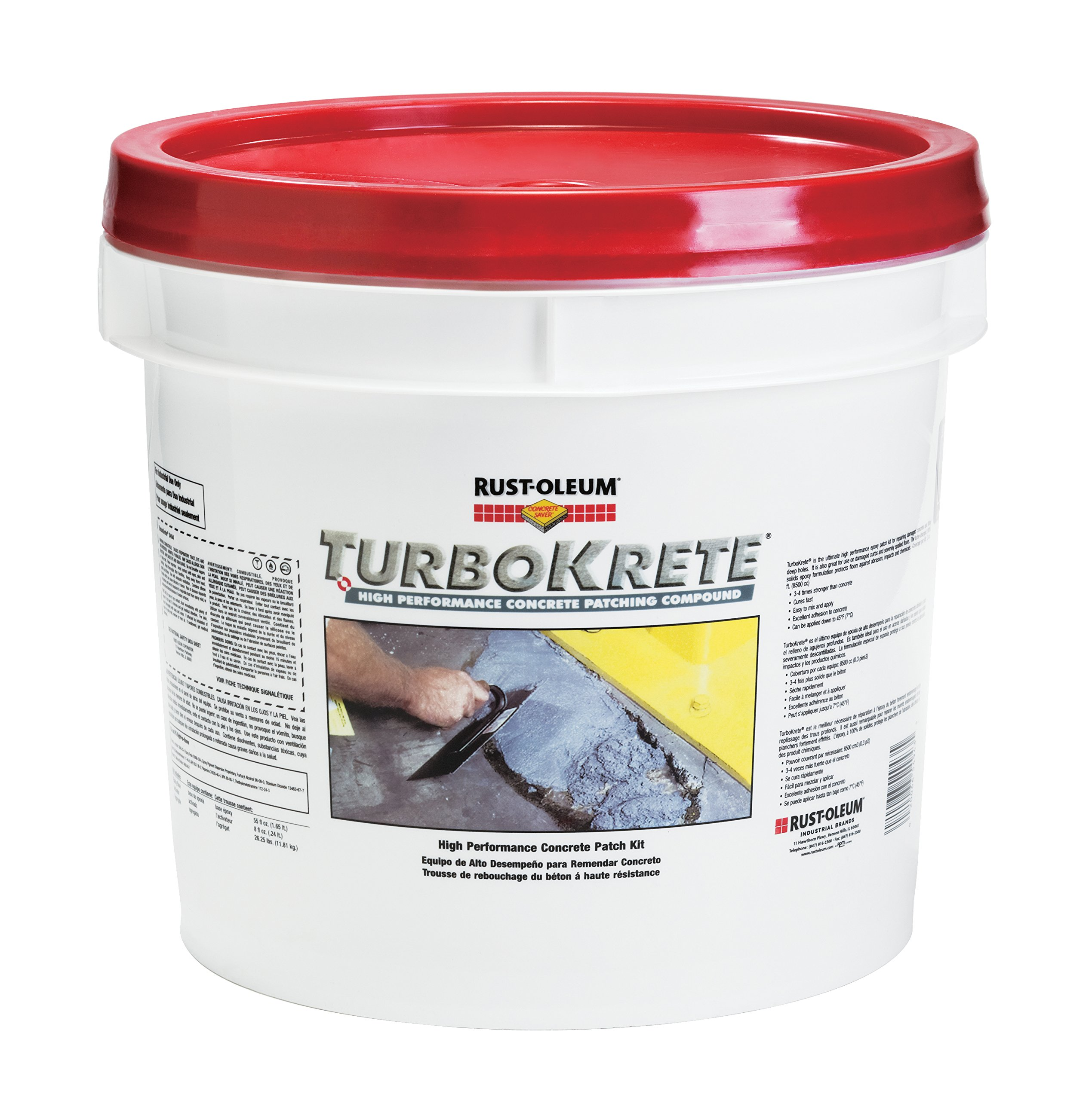 Rust-Oleum 5494323 Concrete Saver TurboKrete Concrete Patching Compound, 3.5-Gallon, Light Gray