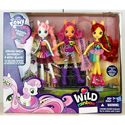 My Little Pony Equestria Girls Exclusive Wild Rainbow Doll 3-Pack The Cutie Mark Crusaders [Sweetie Belle, Scootaloo & Apple Bloom]: Toys & Games