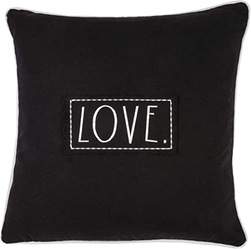 Rae Dunn 20 Decorative Pillow with Love Embroidered Sentiment Patch, Black Throw Pillow, 100 Cotton with Feather Fill Insert Square Pillow