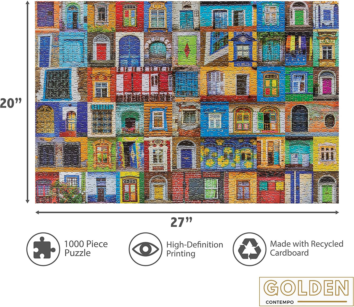 1000 Puzzle Pieces Print Image for Clarity and Vibrance Golden Contempo Precision-Cut High Challenge 1000-Piece A Few Doors Down Jigsaw Puzzle with Minimal Puzzle Dust for Adults