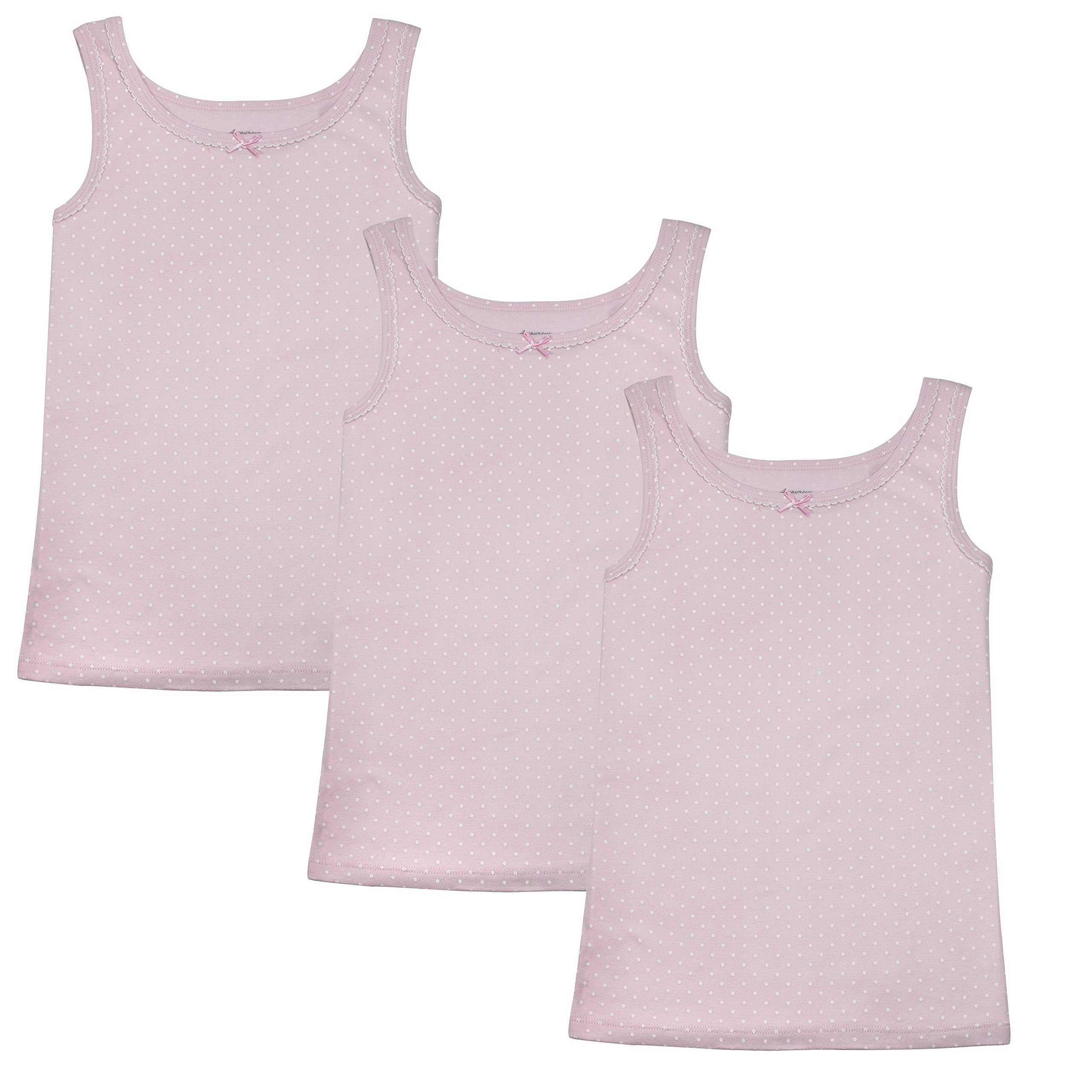 Amoureux Bebe Camisole Undershirts For Toddlers & Girls- Extra Soft Turkish Cotton Tank Tops- Pink Background With White Polka Dots, Size 6-7 (3 Pack)