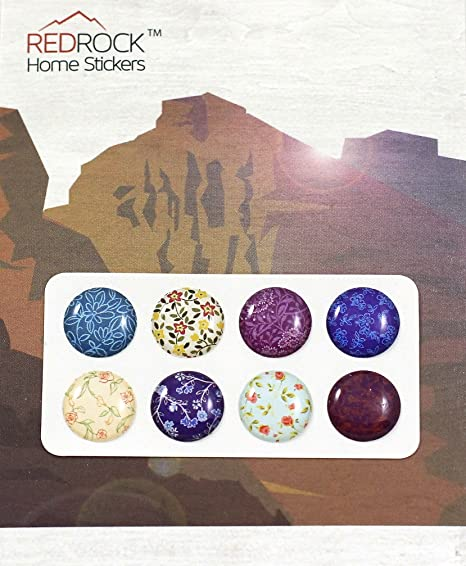 Beautiful Flower Floral Designs 8 Pieces Home Button Stickers For IPhone 5  4/4s 3GS