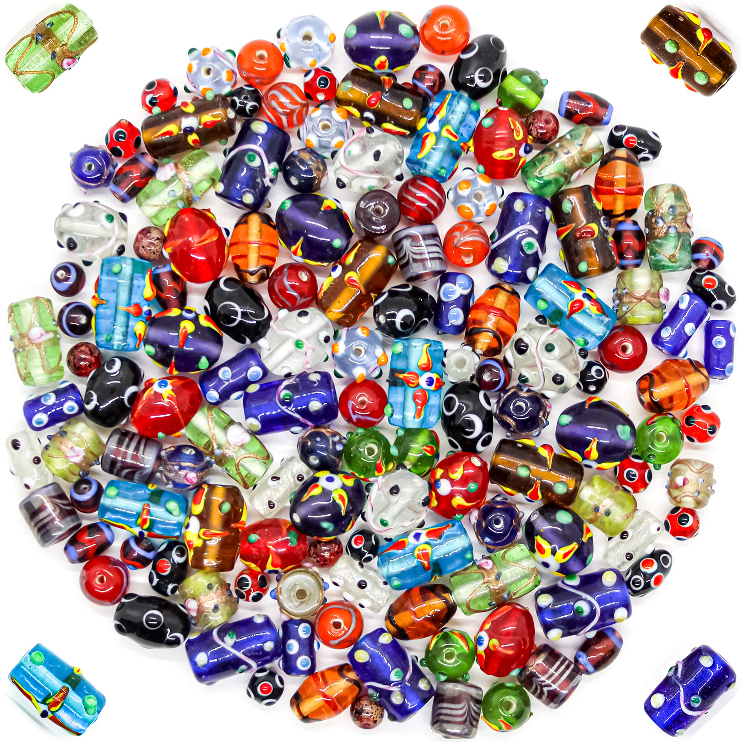 Glass Beads for Jewelry Making Supplies for Adults, 120-140 Pcs Bulk Kits - Premium Assorted Mix of Large Craft Lampwork Murano Beads for Bracelet and Necklace Crafting Supplies Kit by Frogsac