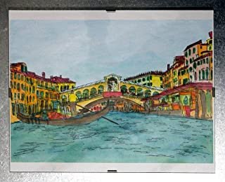 Venice, Rialto Bridge-Air-colored original painting, watercolor technique + Wooden frame dimensions inch 12,7x9,3x0,2 inch.Made in Italy, Tuscany, Lucca. Created by Davide Pacini.