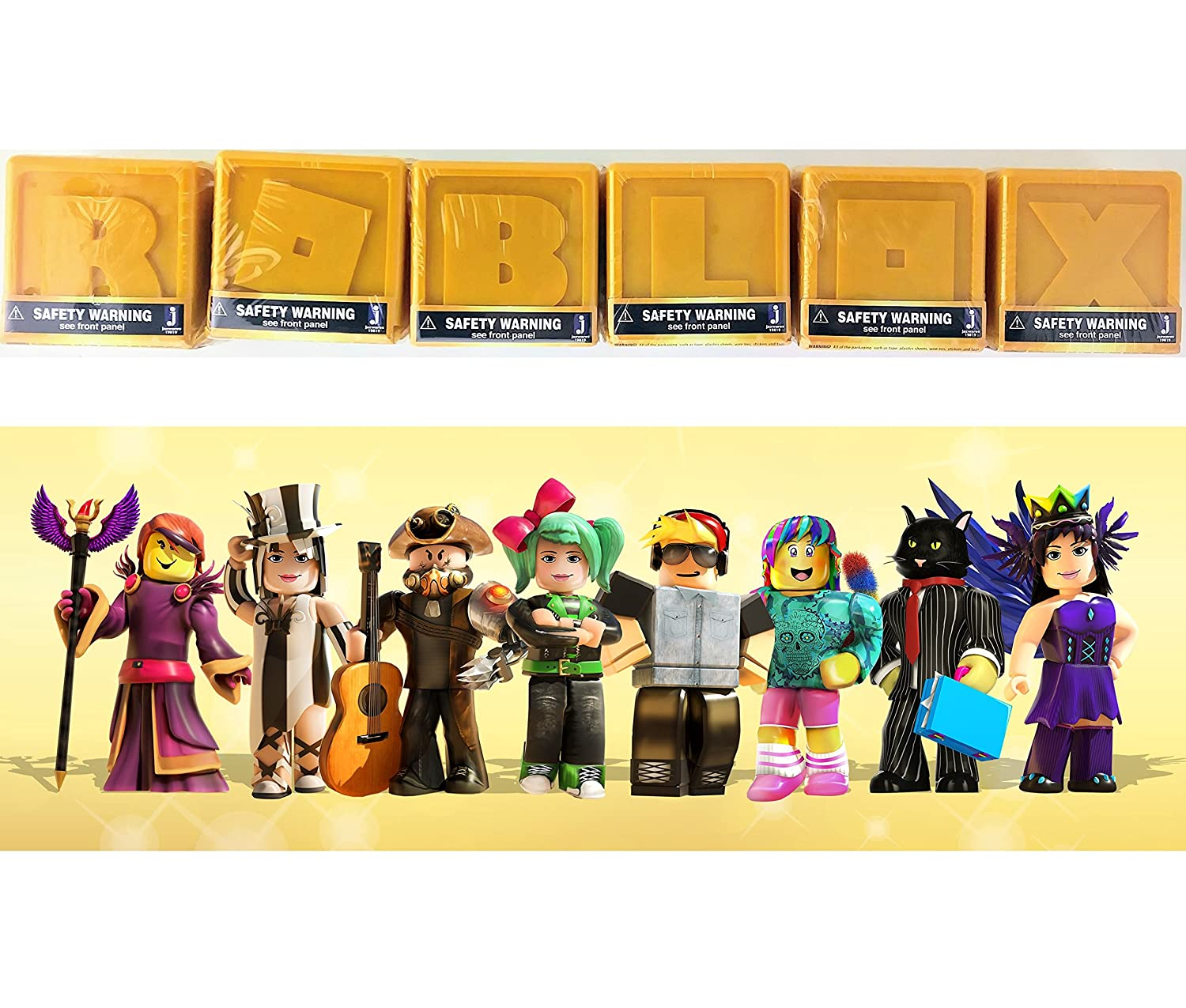 Roblox GOLD Celebrity Collection Series 1 mystery blind box bundle spelling R O B L O X 6 items total: 1 sealed box of each letter Jazwares figures inside are random