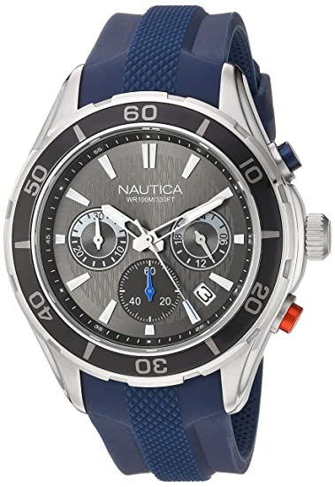 Nautica Reloj Analógico para Hombre de Cuarzo con Correa en Silicona 0656086079418: Amazon.es: Relojes