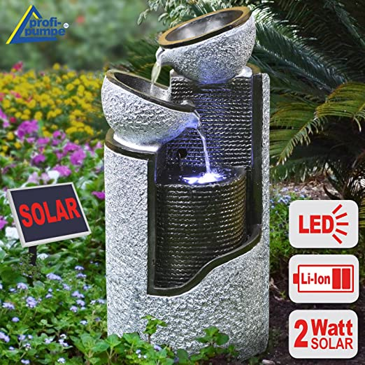 Fuente JARDÍN Solar, Fuente DE Agua, Fuente Decorativa, LUZ DE JARDÍN, Bomba DE Estanque para terraza, balcón, Modelo Mejorado con Bomba de Arranque instantáneo con batería de Litio y luz Led: Amazon.es: