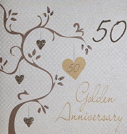 White Cotton Biglietto Di Auguri Realizzato A Mano Per 50 Anniversario Di Matrimonio Nozze D Oro Bianco Con Scritta Golden Wedding Anniversary