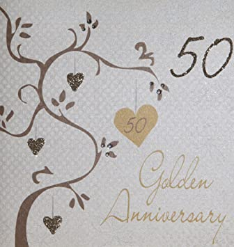 white cotton cards golden wedding anniversary handmade 50th