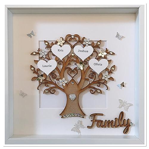 Geschenkideen Familie Weihnachten.Personalisierte Silber Funkeln Familie Baum Rahmen Handgefertigt