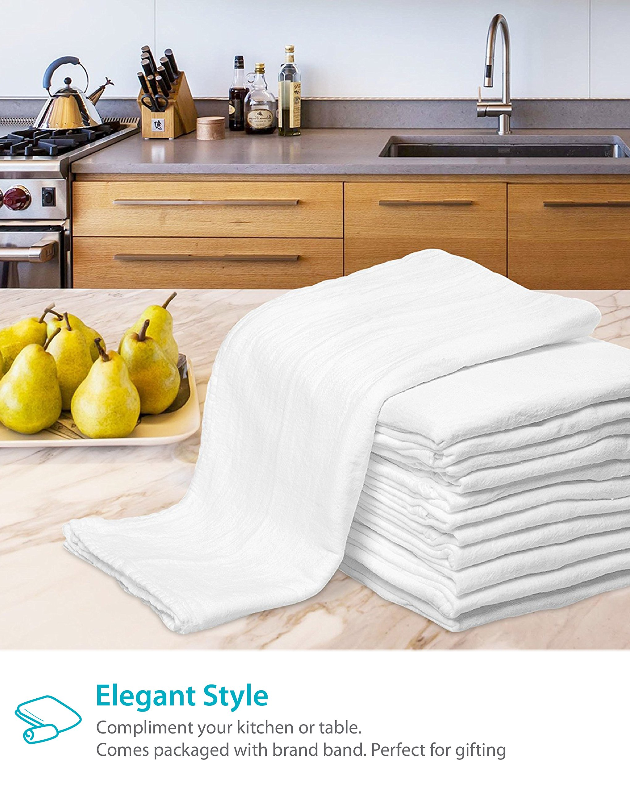 Zeppoli 12-Pack Flour Sack Towels - 31'' x 31'' Kitchen Towels - Absorbent White Dish Towels - 100% Ring Spun Cotton Bar Towels by Zeppoli (Image #8)