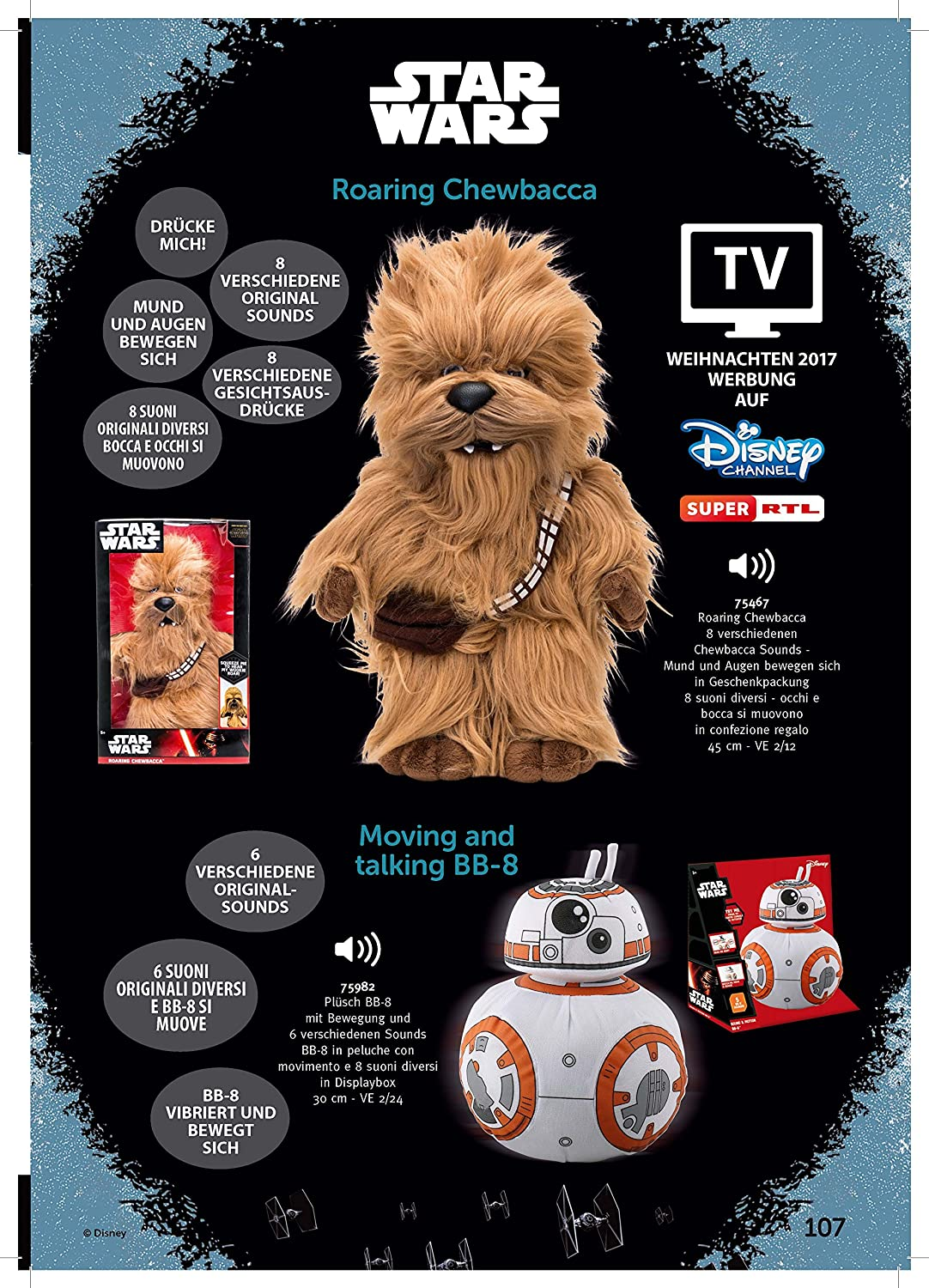 Amazon.com: Star Wars Episode VII Moving & Talking Plush Figure BB-8 30 cm Peluches: Sports & Outdoors
