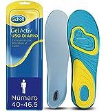 Scholl Plantillas Gel Activ Uso Diario para hombre, para el dia a dia, mayor comodidad y absorción del olor y sudor, talla 40 - 46.5, 1 par (2 plantillas)
