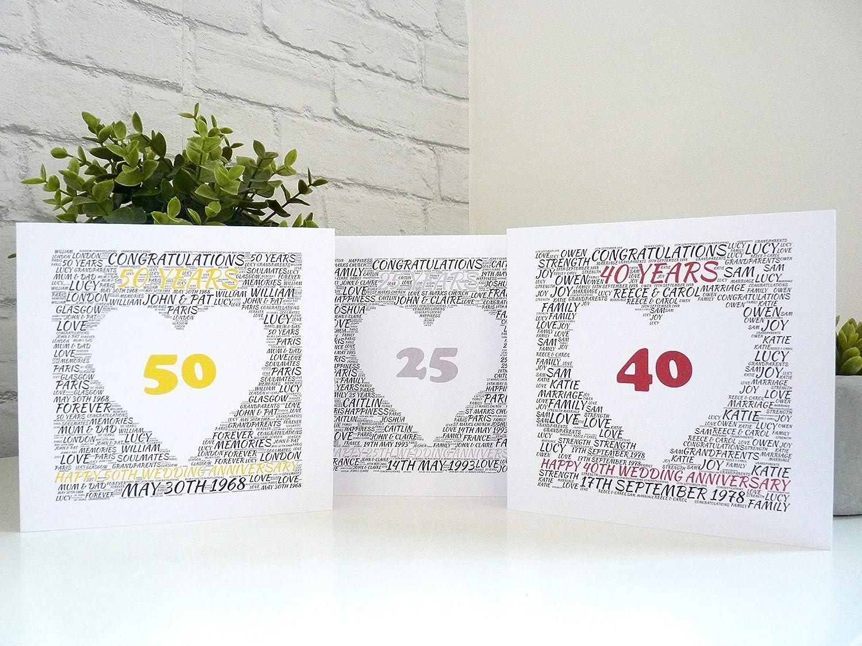 Personalised Anniversary Card, 25th/40th/50th/65th Wedding Anniversary Card, Personalised Silver/Ruby/Golden/Sapphire Wedding Anniversary Card