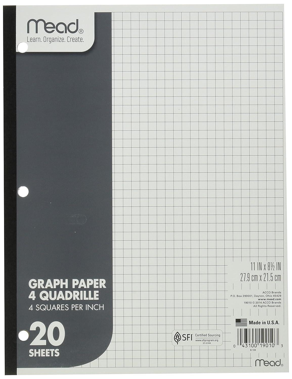 worksheet 1 4 Graph Paper amazon com mead 19010 quadrille graph paper 4 sqin 8 12 x 11 white 20 sheetspad padspack mea19010 l
