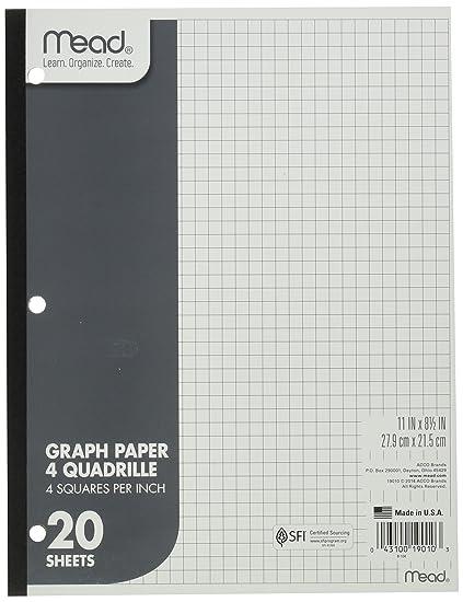 amazon com mead graph paper pad quadrille 4 squares per inch 11