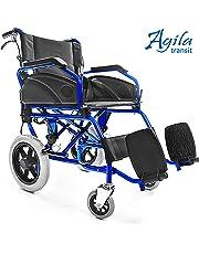 AIESI Silla de ruedas plegable superligera de aluminio con freno para discapacitados y mayores AGILA TRANSIT ✔ Doble sistema de frenado ✔ Cinturon de seguridad ✔ Garantía de 24 meses