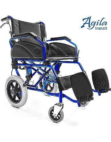 AIESI Silla de ruedas plegable superligera de aluminio con freno para discapacitados y mayores AGILA TRANSIT