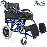 AIESI Sedia a rotelle pieghevole Super-leggera da transito in alluminio con freno per disabili ed anziani AGILA TRANSIT ✔ Doppio sistema di frenata ✔ Cintura di sicurezza ✔ Garanzia Italia 24 mesi