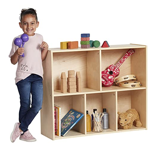 ECR4Kids Birch Streamline Storage Cabinet – Hardwood Classroom Home Storage Solution for Kids – 5-Compartment, 30 H