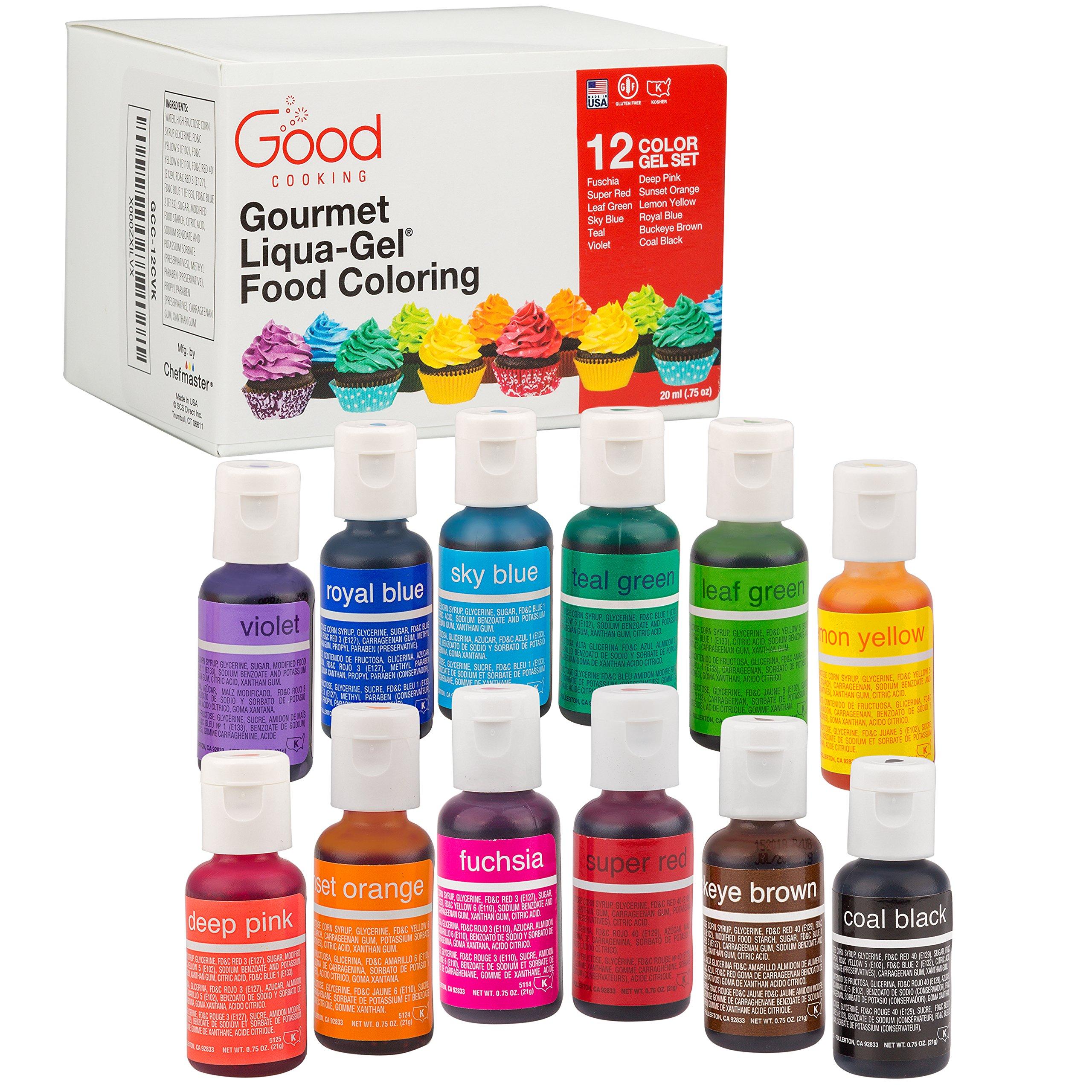 Food Coloring Liqua-Gel - 12 Color Variety Kit in .75 fl. oz. (20ml) Bottles by Good Cooking