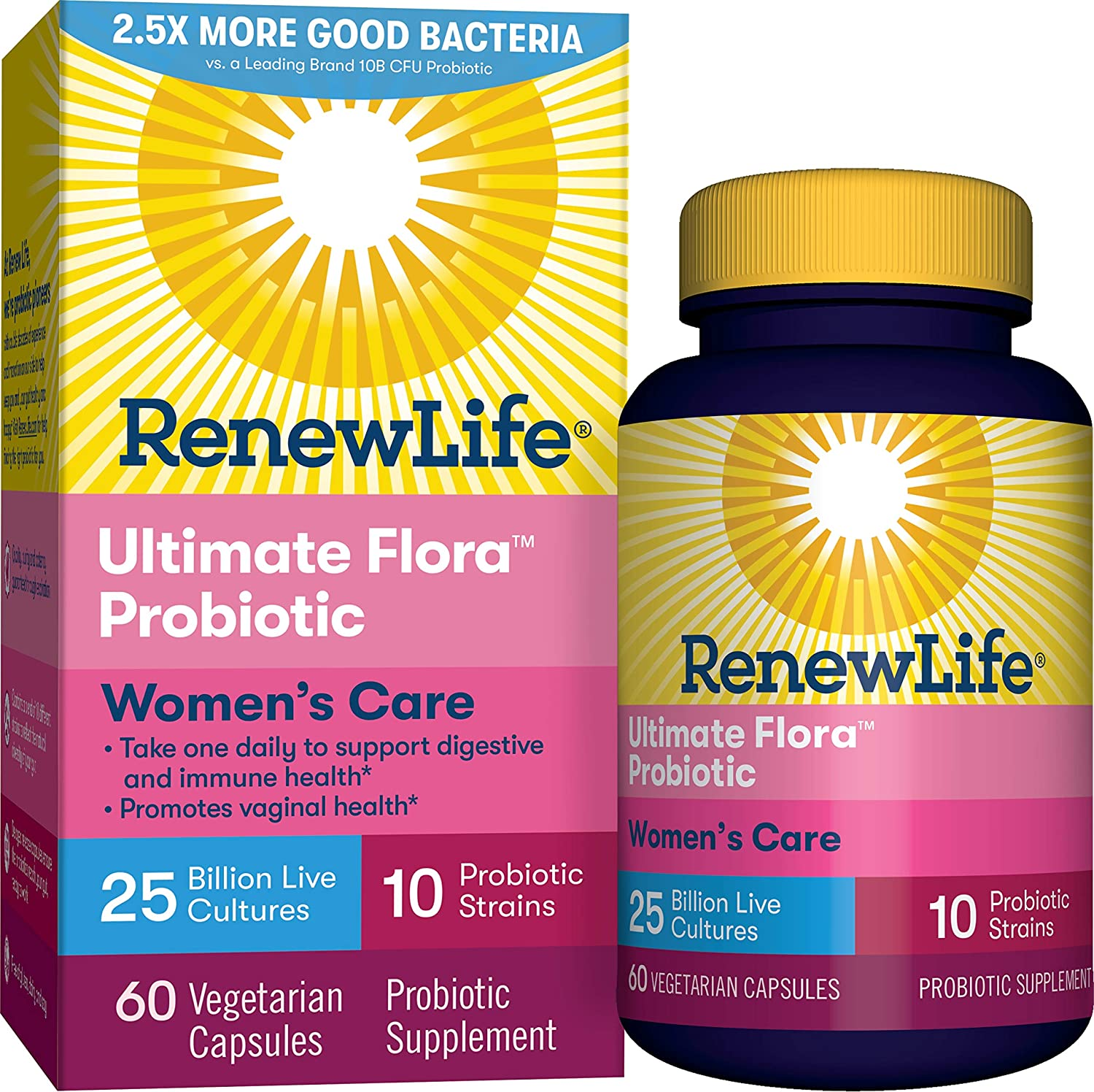 Renew Life #1 Women's Probiotic - Ultimate Flora Women's Care Shelf Stable Probiotic Supplement - Gluten, Dairy & Soy Free - 25 Billion CFU - 60 Vegetarian Capsules (Packaging May Vary)