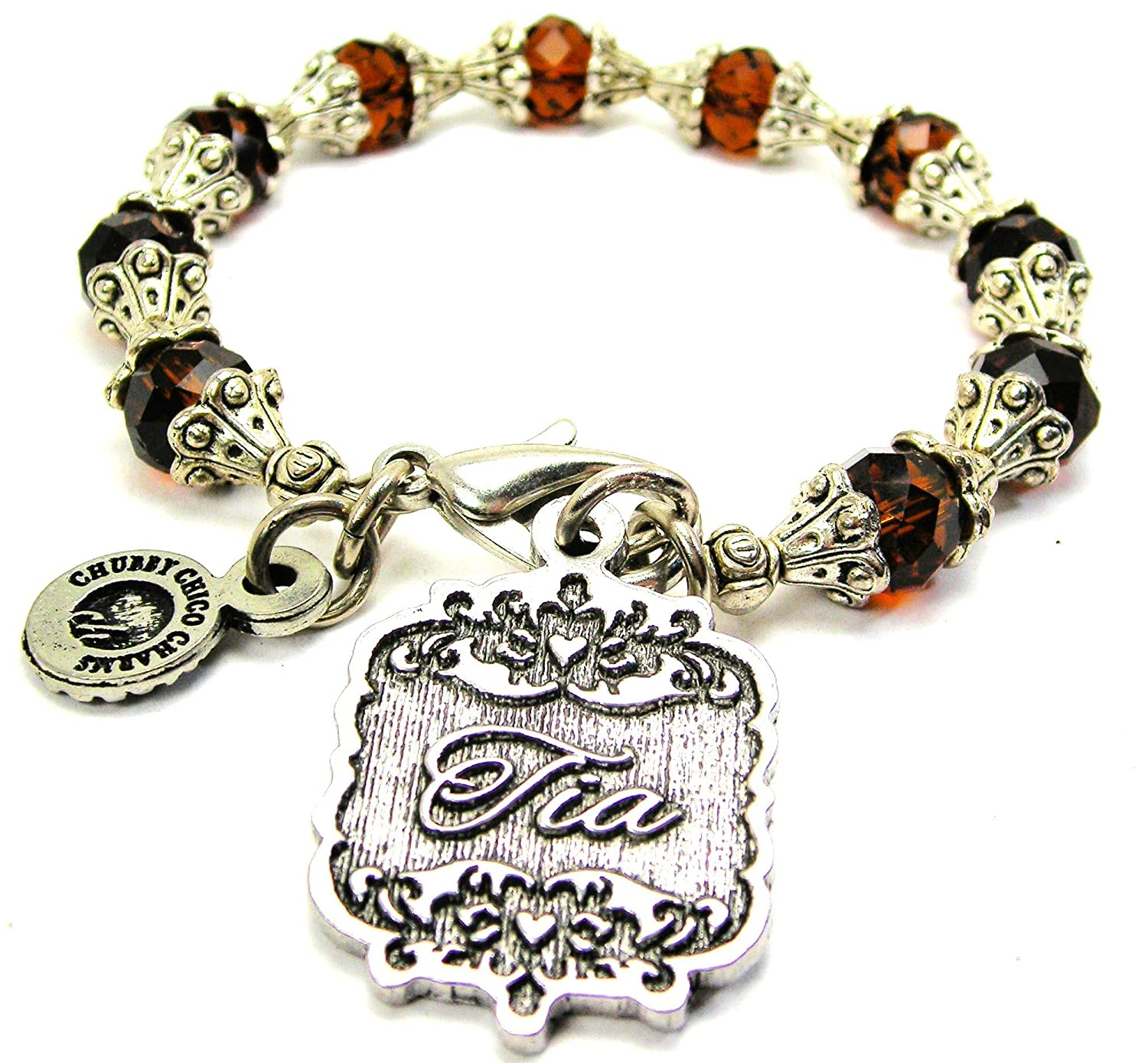 Chubby Chico Charms Tia Victorian Scroll Capped Crystal Bracelet in Chocolate Brown