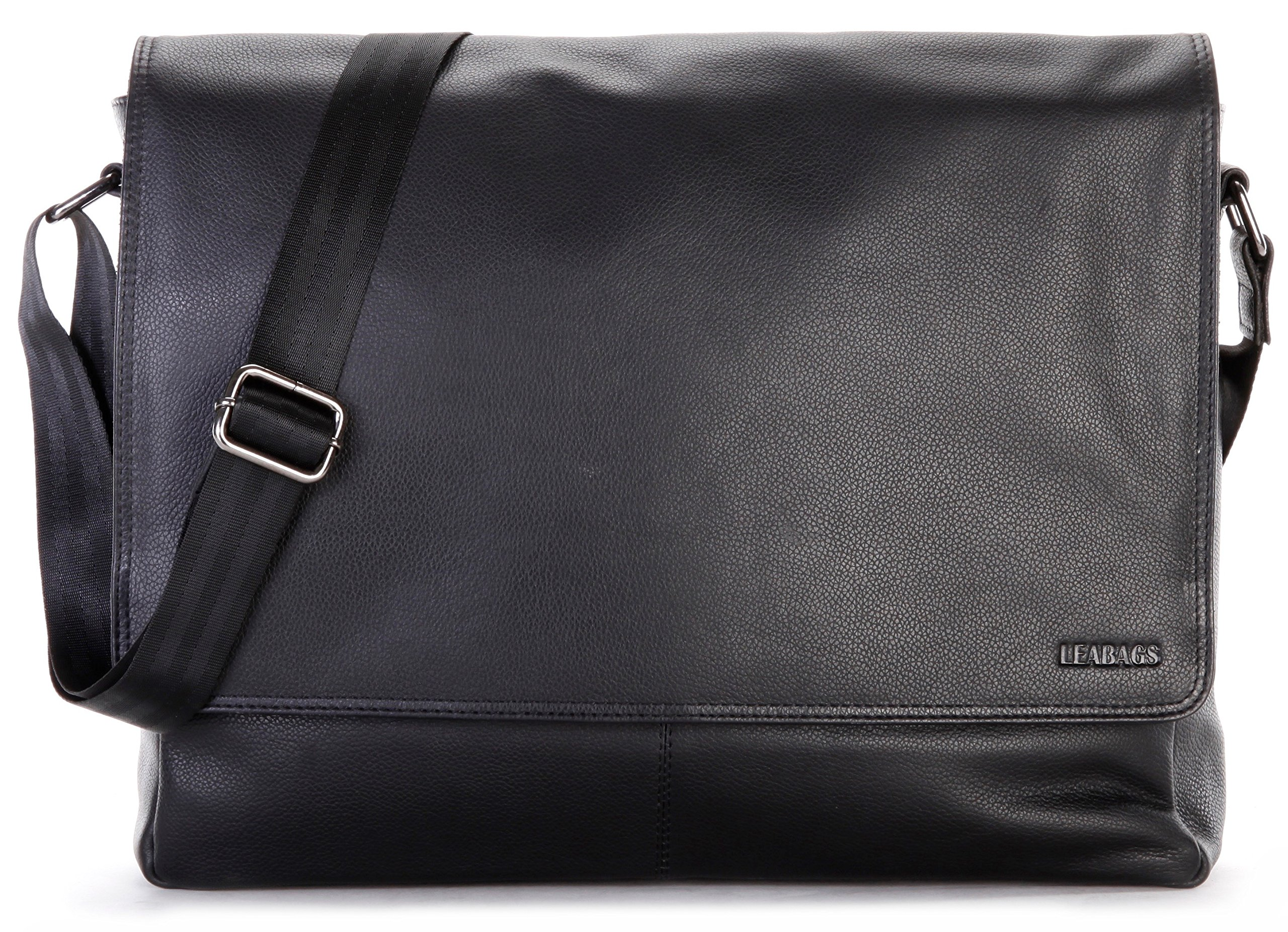 LEABAGS Oxford genuine buffalo leather messenger bag in vintage style - OnyxBlack