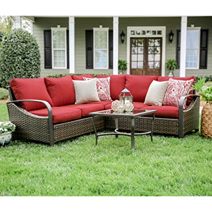 Amazon Com Leisure Made Trenton 4 Piece Outdoor Sectional Red