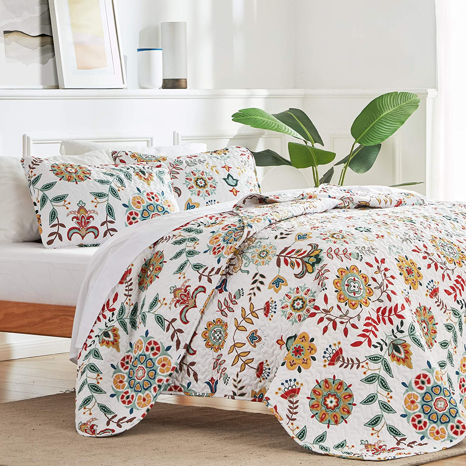 Details about  /Retro Quilted Coverlet /& Pillow Shams Set Jazz Band in New York Print