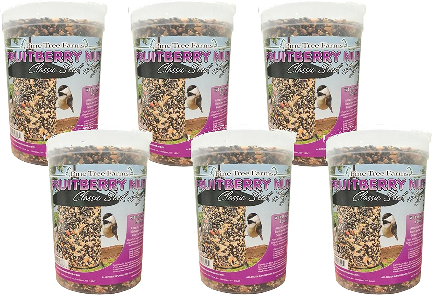 6 Pack - Pine Tree Farms 68 Ounce Fruit Berry Nut Classic Seed Log 8006 Made in USA