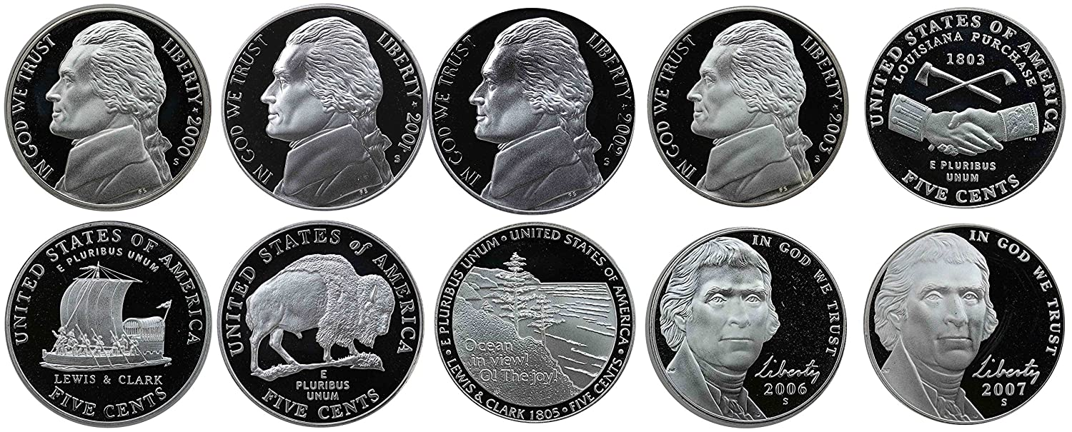 2000 P D S Proof /& BU Thomas Jefferson Nickels From Mint Sets Combined Shipping