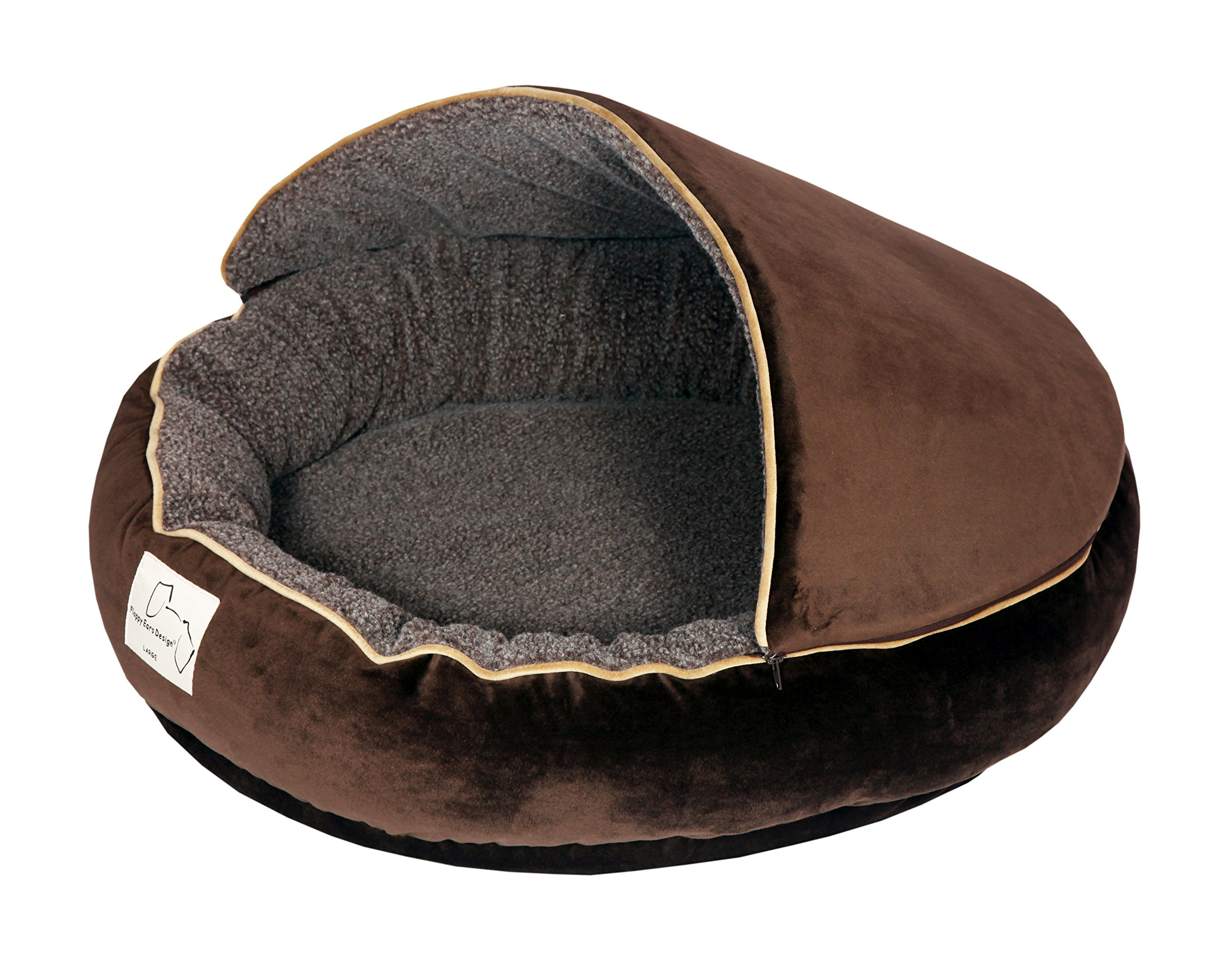 Floppy Ears Design Microfiber and Fleece Hooded Pet Bed (Large, Chocolate)