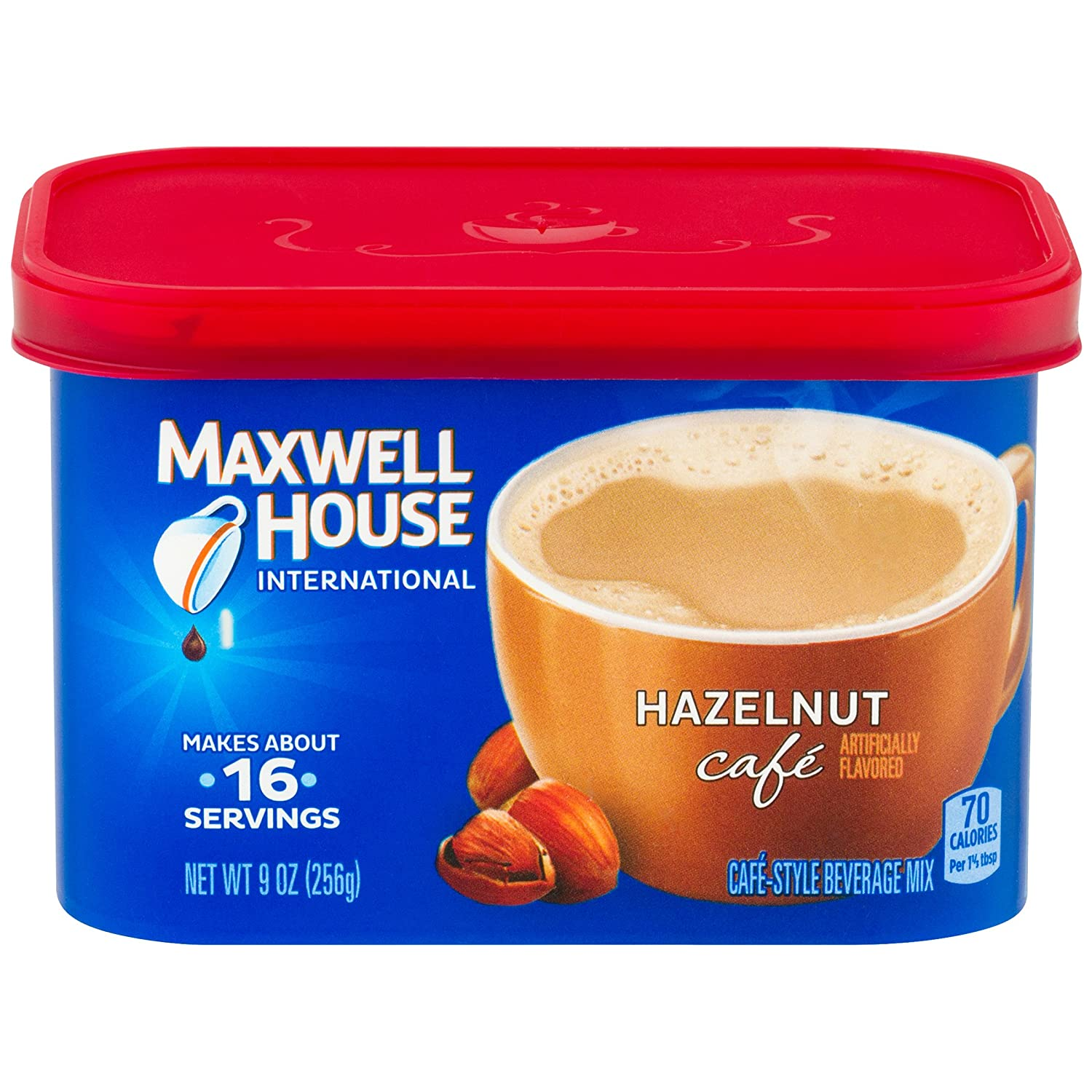 Maxwell House International Cafe Hazelnut Instant Coffee (9 oz Canisters, Pack of 4)