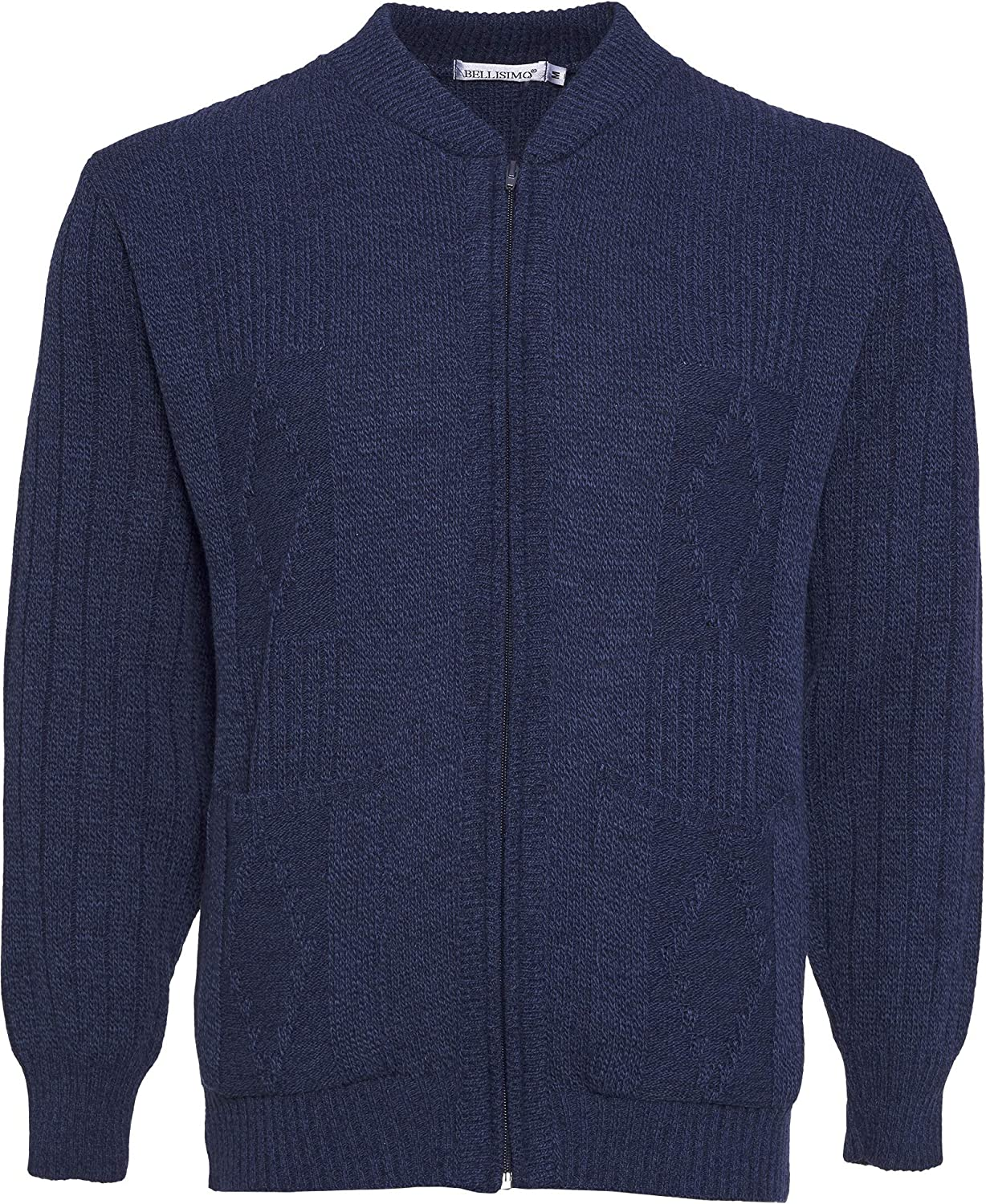 Mens Knitted Cardigan Classic Style Cardigans V Neck Zipper Jumper Plain Coloured
