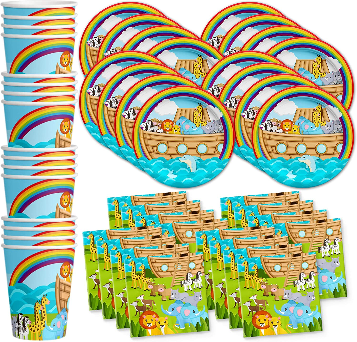 Noah's Ark Birthday Party Supplies Set Plates Napkins Cups Tableware Kit for 16