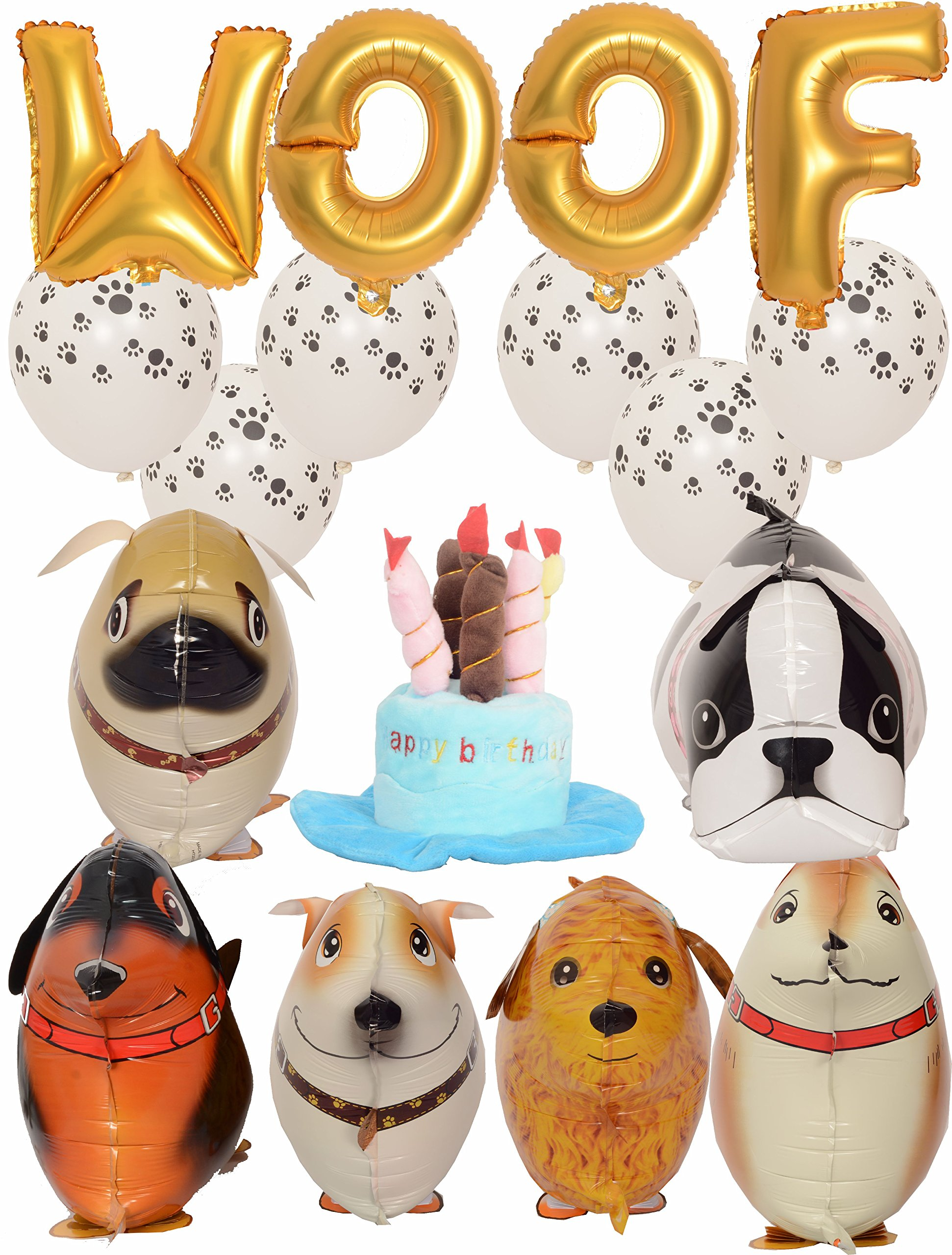 Meant2ToBe Dog Birthday Decorations Kit, 12 Inch WOOF Letter Ballons - 6Pc Walking Animal Pet Dog balloons - Paw Prints Round Biodegradable Latex Balloons - Blue Dog Birthday Hat by Meant2ToBe (Image #4)