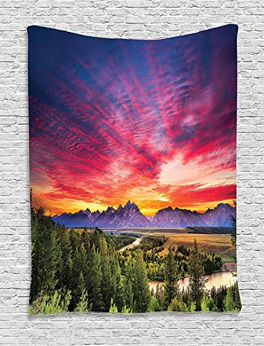 Ambesonne Lake House Decor Collection, Colorful Skyline with Clouds in the Forest Lake River Mountain Landscape Park Sunburst, Bedroom Living Room Dorm Wall Hanging Tapestry, Multi