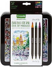 Crayola Signature Brush & Detail Dual Tip Markers,16pk, 32 Colours,  Brush Tip, Pen Tip, Calligraphy Set, Lettering, Detailing, Gift, Art Set, Storage Tin