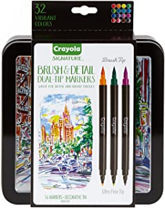 Crayola Brush Markers, Dual-Tip with Ultra Fine Marker, Decorative Storage Case, 32 Colors, 16 Count, Gift