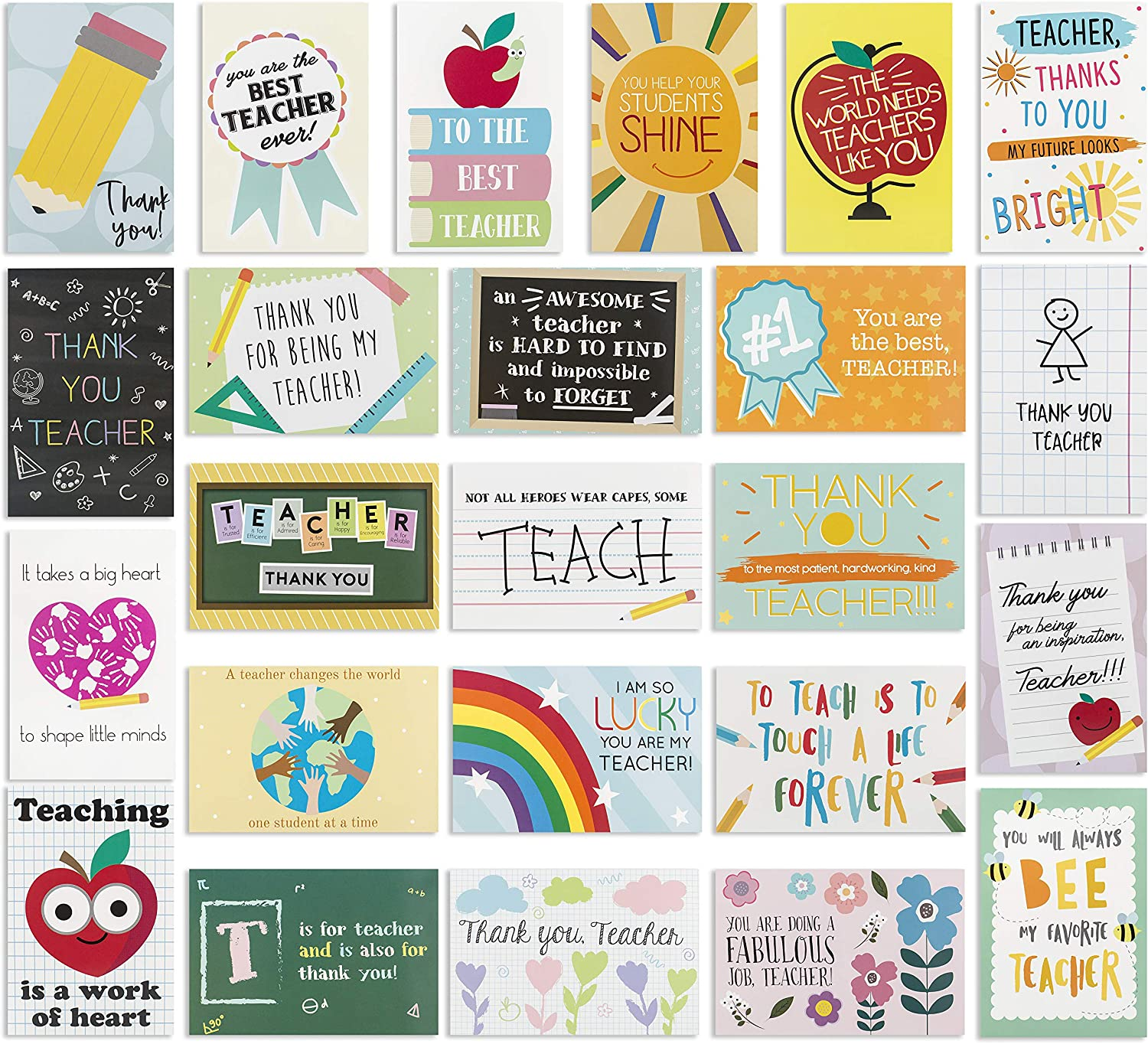 A Note of Thanks Fountain Pen Flat Note Card Set of Ten Thank You Stationery Greeting Card Notes for Teacher