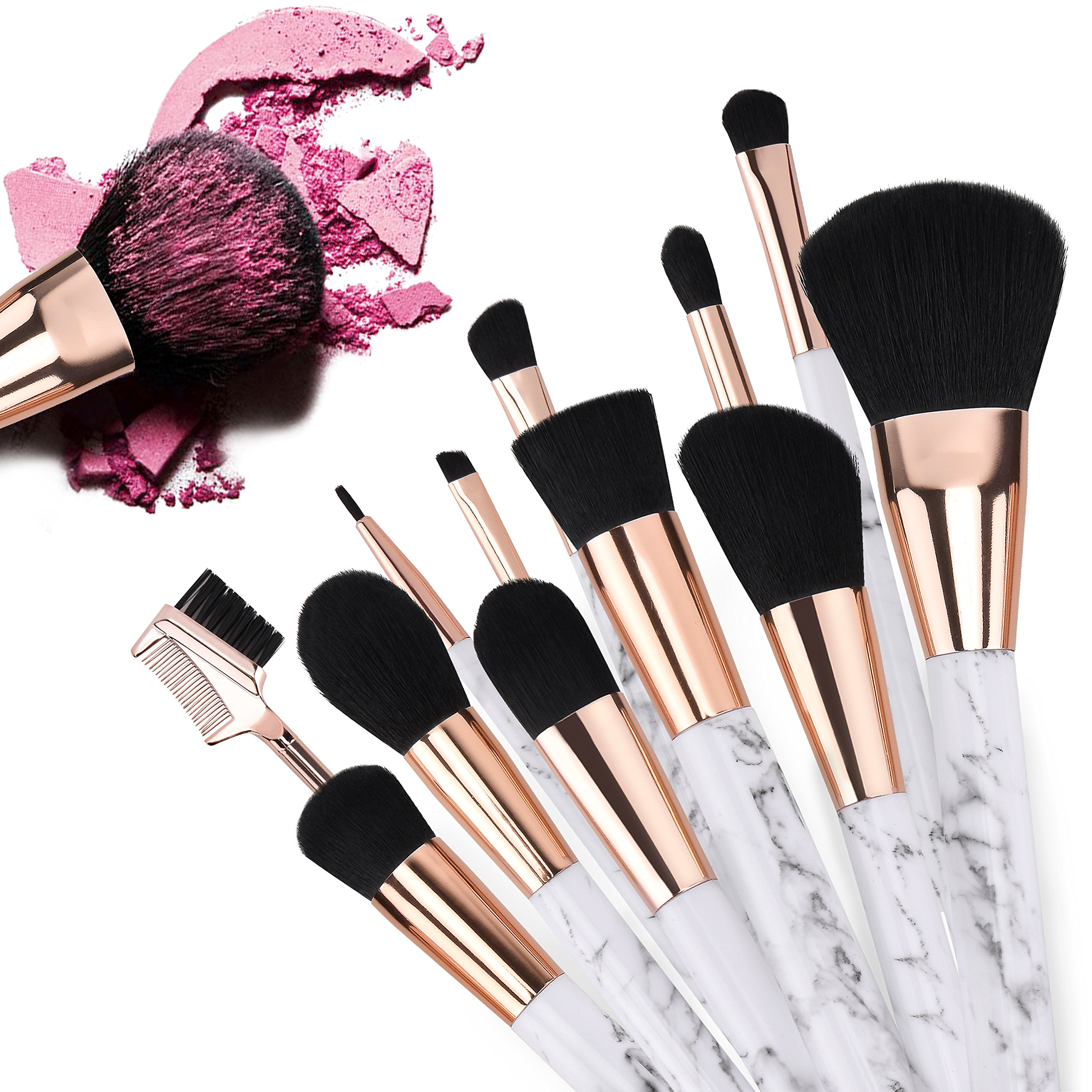 Make Up Brushes, Safe&Care 12 Pieces Start Makers Marble Makeup Brushes Set Foundation Blending Blush Eye Face Liquid Powder Cream Cosmetics Brushes Kit for Women Or Girls
