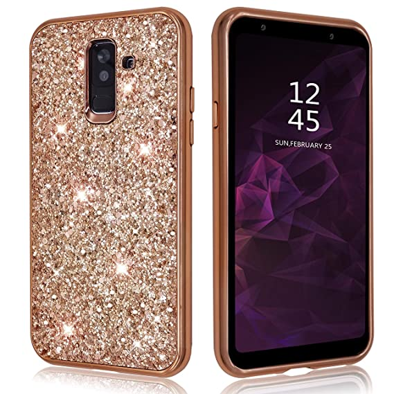 buy online 59f5c 8c97a Samsung Galaxy A6 Case Glitter Shiny Bling Sequin Sparkle Diamond Hard  Luxury Thin Soft Cute Girl Women Phone Cover for Samsung Galaxy A 6 (2018)  ...
