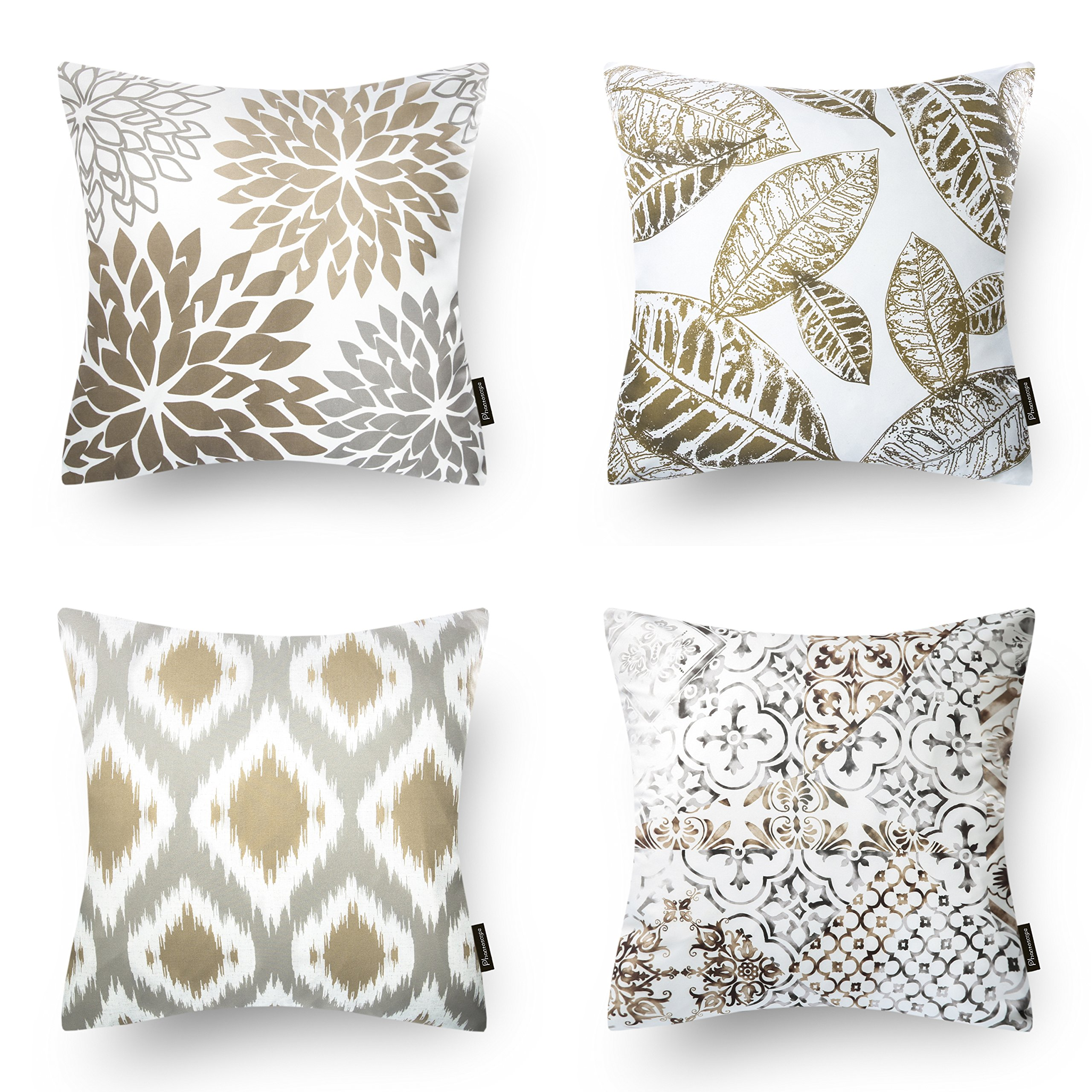 PHANTOSCOPE New Living Series Coffee Color Decorative Throw Pillow Case Cushion Cover 18'' x 18'' 45cm x 45cm Set of 4 by PHANTOSCOPE