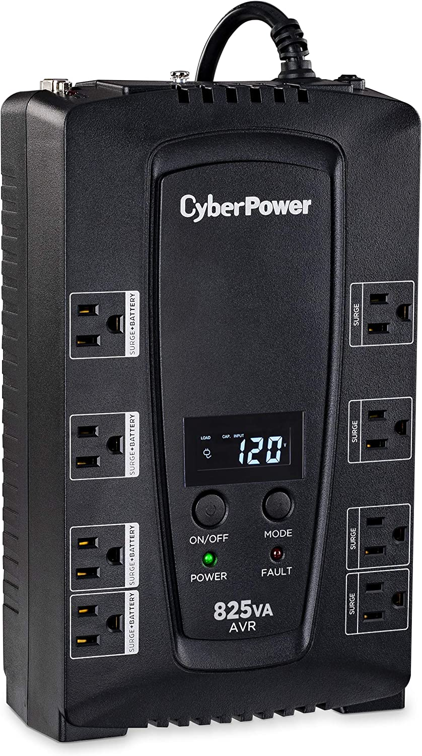 CyberPower CP825AVRLCD Intelligent LCD UPS System, 825VA/450W, 8 Outlets, AVR, Compact