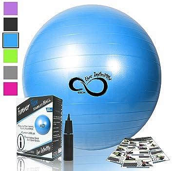 Pelota de fitness de nivel profesional antipinchazos con inflador de mano.  Aguanta 997 kg - 955beb589a91